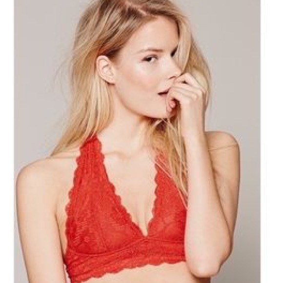 564290260d608 NWT Free People Galloon Lace Halter Bralette LARGE